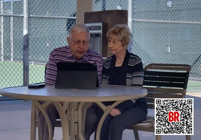 Dell and Connie Sweeris, former U.S. table tennis players, video chat with their Chinese friend Liang Geliang on February 5. Scan the QR code to watch the video (PHOTO BY YALI CARPENTER)