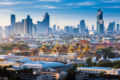 The Golden Grand Palace of Bangkok. with skyscraper view of cityscape at sunrise time. The most favorite landmark of travel destination of asia. Best of amazing beautiful scene of Thailand. (PRNewsfoto/École Ducasse)