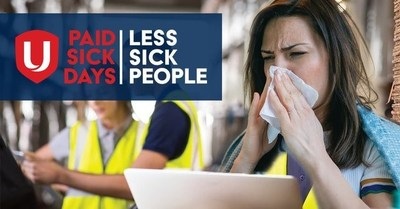 A woman wrapped in a blanket sneezed into a napkin, looking out of place at her job site. Text reads paid sick days, less sick people. (CNW Group/Unifor)