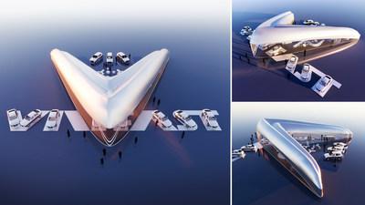 Perspective image of first-prize winning VinFast showroom design by designer Vicky Daroca (USA)