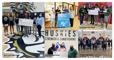 Hibbett Sports Sole School presentations (L to R) N. Forest HS, Houston; Escambia County HS, Atmore, AL; West Bury HS, Houston; Sharpstown HS, Houston and Douglass HS, Memphis. photo credits: Hibbett Sports and Atmore Advance