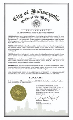 """Indianapolis Changes Name to """"Block City"""" as Mayor Joe Hogsett Issues Proclamation in Support of Myles Turner's Candidacy for NBA Defensive Player of the Year."""