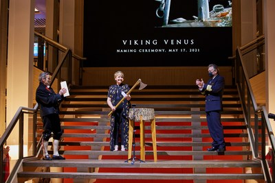 In keeping with the naming custom, ceremonial godmother Anne Diamond assisted in breaking a bottle of Norwegian aquavit on the ship's hull—using an historic Viking broad axe to cut a ribbon that symbolically held the bottle in place. For more information, visit www.viking.com.