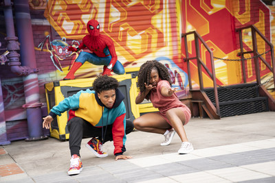 """Throughout the day at Avengers Campus at Disney California Adventure Park, guest """"recruits"""" have the chance to encounter Spider-Man and other Super Heroes in action in Anaheim, Calif."""