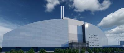Architect impression of the Skelton Grange waste-to-energy facility post construction (PRNewsfoto/enfinium)